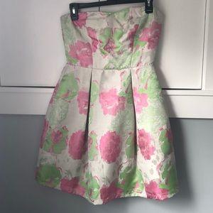 Strapless flower satin Francesca's dress
